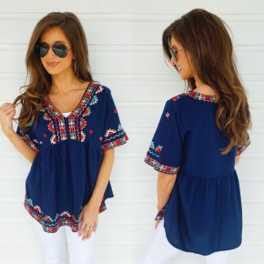 Ocean Avenue Navy Embroidered Top