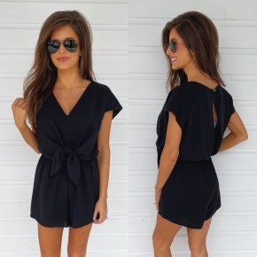 All For The Drama Tie Front Romper- Black