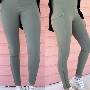 Dark Sage Mesh Athletic Leggings