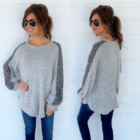 Heather Grey Spotted Sleeve Top