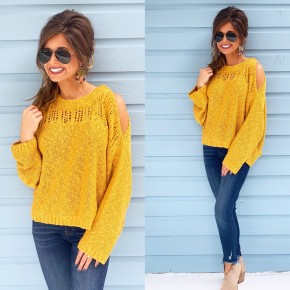 Right This Way Mustard Sweater