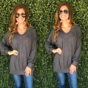 V-Neck Sweater- Charcoal