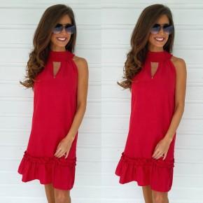 Ruffles In Red High Neck Dress