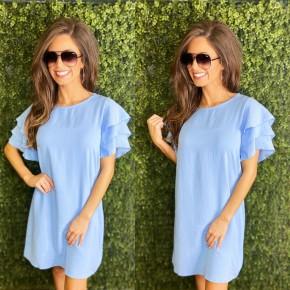 Sky Blue Ruffle Sleeve Dress