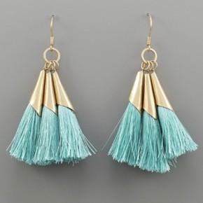 Dainty Mint & Gold Tassel Earrings