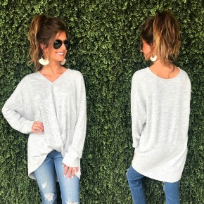 Silver Knit Top With Gathered Waist