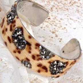 Leopard Cuff Bracelet- Hematite