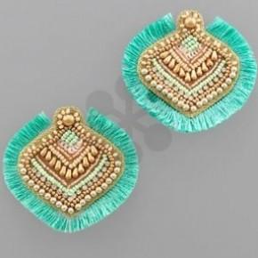 Lotus Tassel Earrings-Mint