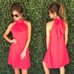 Hayden Halter Neck Dress - Red