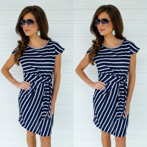 Navy Knot Front Dress