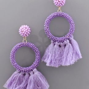 Seed Bead & Tassel Earrings- Purple