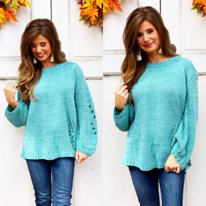 Dusty Mint Distressed Sweater