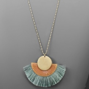 Peach & Mint Tassel Necklace
