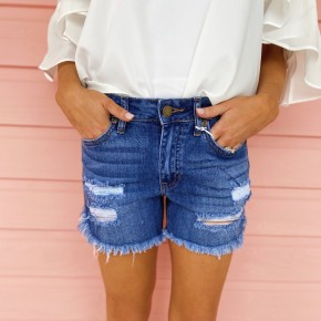 Rely On Me Distressed Denim Shorts