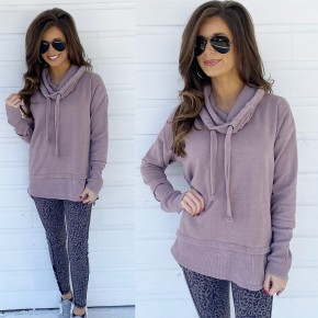 Dusty Pink Cowl Neck Pullover