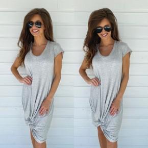 Knot Front Mini Dress- Grey