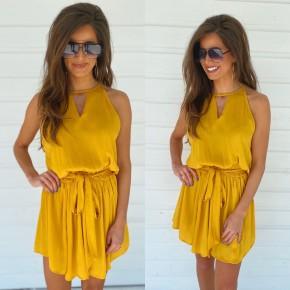 Mustard Tie Waist Dress