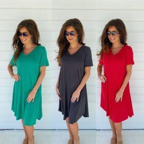 V-Neck Pocket Dresses