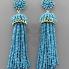Seed Bead Tassel Earrings- Blue