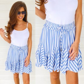 Blue Striped Mini Skort
