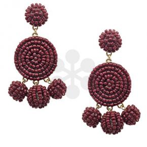 Tinsley Burgundy Beaded Earrings