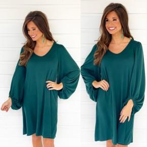 Hunter Green Bubble Sleeve Dress