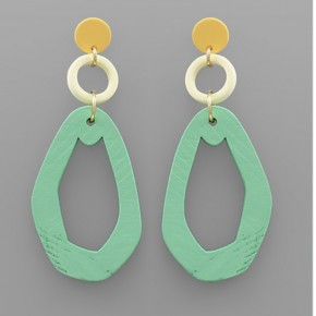 Mint Wooden Oval Earrings