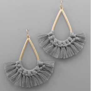 Gray Teardrop Tassel Earrings