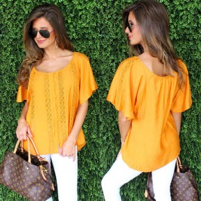 Tangerine Lace Button Down Top