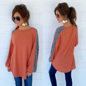 Coral Spotted Sleeve Top
