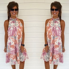 Timeless Treasure Tie Dye Dress- Peach