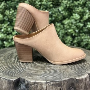 Taupe Leather Mules