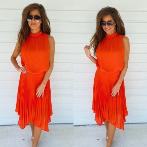 Classic Red Pleated Dress