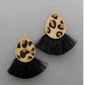 Black Animal Print Teardrop Earrings