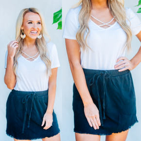 Black Frayed Hem Skirt