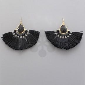 Black T-Drop Stone Earrings