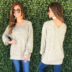 V-Neck Sweater- Taupe