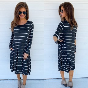 Charcoal & Ivory Striped Dress