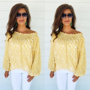Can't Stay Long Printed Top- Yellow
