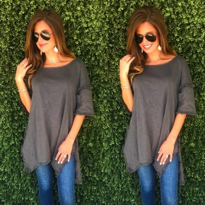 Charcoal Top With Fringe Detail