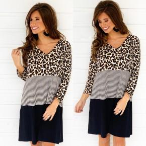 Long Sleeve Cheetah Combo Dress