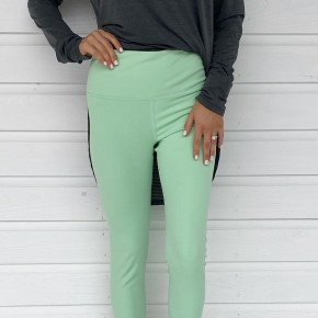 Scalloped Hem Athletic Leggings- Lime