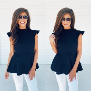 My Way Only Mock Neck Top- Black