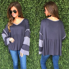 Charcoal Mixed Fabric Top