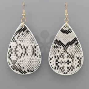 Leather Snake Skin Teardrop Earrings