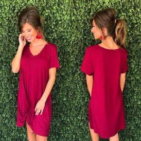 Burgundy T-Shirt Dress