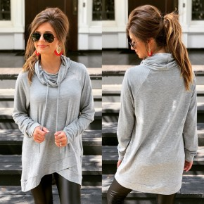 Holly Cowl Neck Tunic- Heather Grey