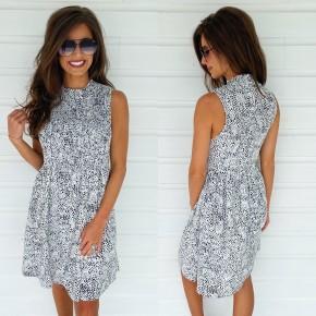 White & Black Speckled Dress