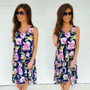 Floral Frenzy Navy Print Dress