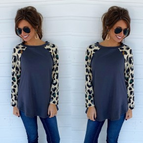 Grey & Ivory Leopard Sleeve Top